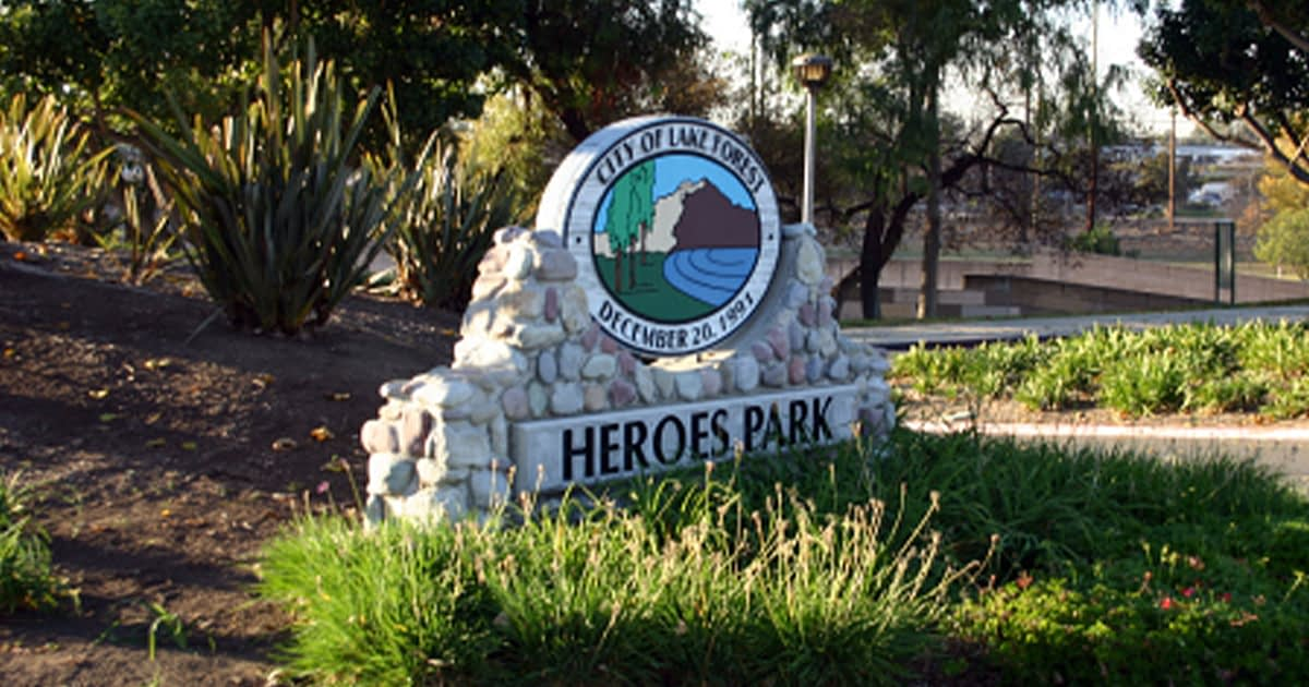 Stone sign for heroes park lake forest CA