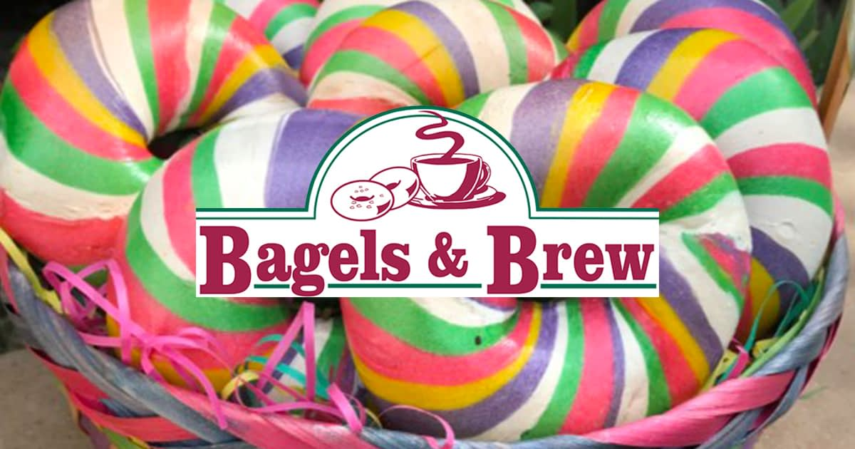 Easter colored bagels in a basket