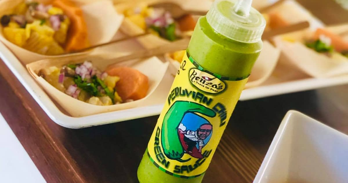 bottle of peruvian green sauce from renzos taste of peru